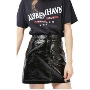 🌼 Topshop Faux Leather Crinkle Patent Mini Skirt